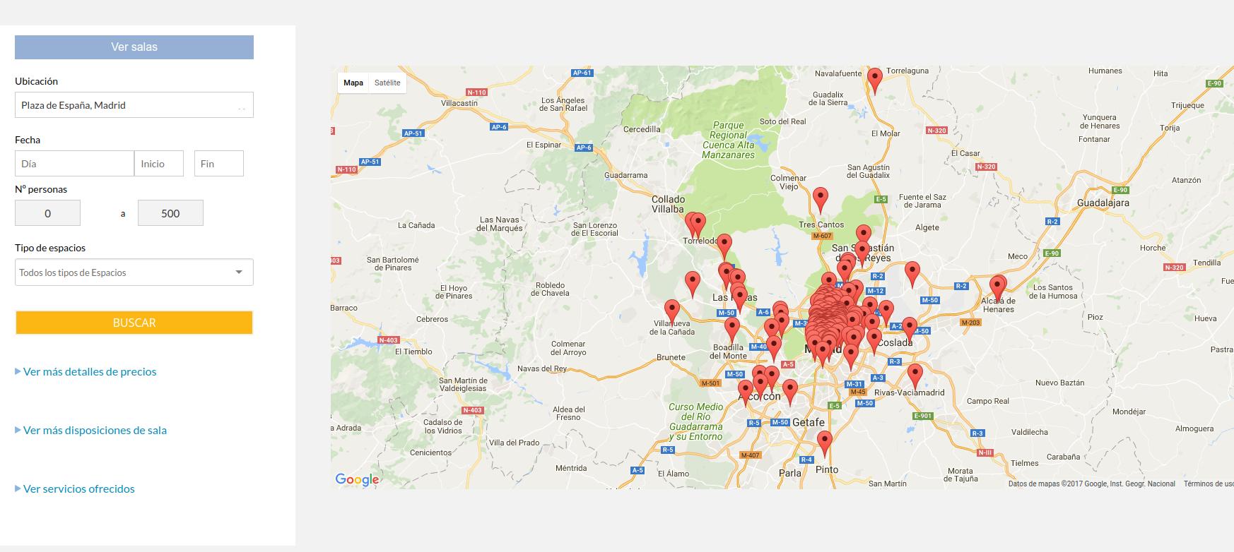 Mapa de las salas en madrid